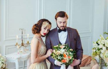 Стильная свадебная фотосессия в стиле 30-х годов.-505